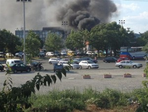 Smoke rising from the Sarafovo Airport in Burgas, Bulgaria, after a terror attack on an Israeli tour bus, July 18, 2012. (Burgasinfo)