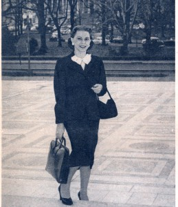 Bessie Margolin photographed on the steps of the Supreme Court building with the Capitol in the background. (Photo courtesy Marlene Trestmen)