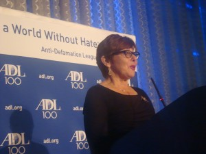 Former ADL South-Central Region director Cathy Glaser accepts a special award for her years of service combatting prejudice and hate at the Torch of Liberty Dinner on December 5. (Photo by Dean Shapiro)