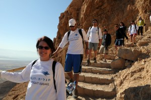 Birthright participants visiting Masada during a more peaceful time, in summer 2012. (Photo by Taglit-Birthright)