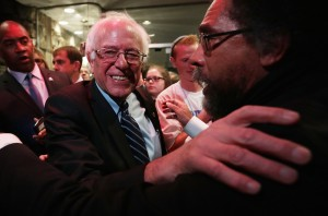 DES MOINES, IA - NOVEMBER 14:  Philosopher Cornel West (R) embraces Democratic presidential candidate Sen. Bernie Sanders (I-VT) at a watch party for the second Democratic presidential debate November 14, 2015 in Des Moines, Iowa. Sanders joined Hillary Clinton and Martin O'Malley in the party's second presidential debate.  (Photo by Alex Wong/Getty Images)