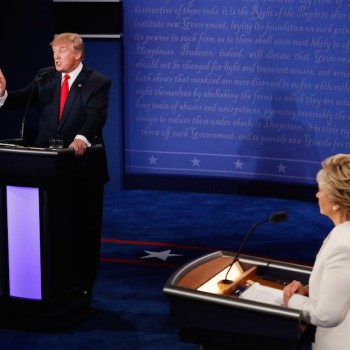LAS VEGAS, NV - OCTOBER 19:  Republican presidential nominee Donald Trump (L) speaks as Democratic presidential nominee former Secretary of State Hillary Clinton looks on during the third U.S. presidential debate at the Thomas & Mack Center on October 19, 2016 in Las Vegas, Nevada. Tonight is the final debate ahead of Election Day on November 8.  (Photo by Mark Ralston-Pool/Getty Images)