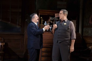 "Nathan Lane, as Walter Burns, matches wits with John Goodman as Sheriff Hartman in ""The Front Page."" (Photo by Julieta Cervantes)"