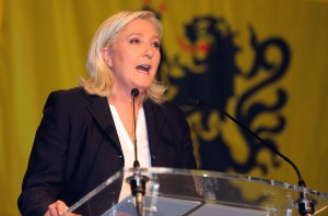 HENIN-BEAUMONT, FRANCE - DECEMBER 06:  French Far-Right National Front President Marine Le Pen during her speech after the announcement of the results of the first round of the regional election on December 6, 2015 in Henin-Beaumont, France. Photo by Sylvain Lefevre/Getty Images)  (Photo by Sylvain Lefevre/Getty Images)