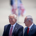 US President Donald Trump with Israeli Prime minister Benjamin Netanyahu as he arrives at Ben Gurion Airport near Tel Aviv on May 22, 2017, for his first official visit to Israel since becoming US president. Photo by Hadas Parush/Flash90