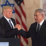 JERUSALEM, ISRAEL - MAY 23:  (ISRAEL OUT) US President Donald Trump (L) and Israel's Prime Minister Benjamin Netanyahu shake hands after delivering a speech during a visit to the Israel Museum on May 23, 2017 in Jerusalem, Israel. U.S. President Donald Trump spend his second and final day visited Mahmoud Abbas in Bethlehem, then visit the Yad Vashem Holocaust memorial and delivering an address at the Israel Museum, both in Jerusalem, before departing for the Vatican.  (Photo by Lior Mizrahi/Getty Images)