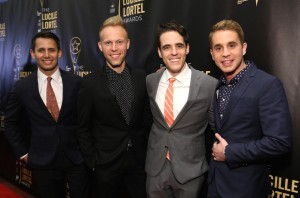 NEW YORK, NY - MAY 07: Benj Passic, Justin Paul, Steven Levinson and Ben Platt of Dear Evan Hansen attend 32nd Annual Lucille Lortel Awards at NYU Skirball Center on May 7, 2017 in New York City.  (Photo by Monica Schipper/Getty Images for Lucille Lortel Awards)