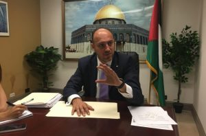 Husam Zomlot, the PLO envoy to Washington, speaks to reporters in Washington, D.C., Aug. 17, 2017. (Ron Kampeas)