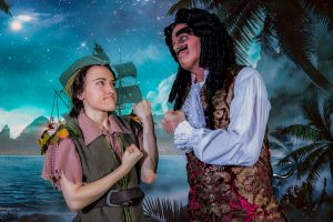 Shelbie Mac as Peter Pan with Jimmy Murphy as Captain Hook. (Photo by John Barrois)