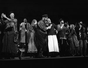 Zero Mostel and Maria Karnilova in a scene from a stage play 'Fiddler On The Roof', 1964. (Photo from a Stage Production/Getty Images)