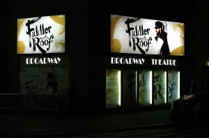 NEW YORK, NY - DECEMBER 20: Theatre Marquee for the Broadway Opening Night Performance of 'Fiddler On The Roof' starring Danny Burstein at the Broadway Theatre on December 20, 2015 in New York City. (Photo by Walter McBride/WireImage)