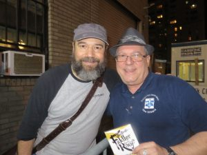 "Star of ""Fiddler on the Roof"" Danny Burstein (Tevye) with CCJN editor Alan Smason in 2016. The show ran from 2015 to the beginning of 2017. (Photo by Susan Rothberg)"