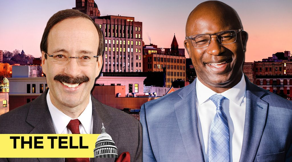 Left: Rep. Eliot Engel (Wikimedia Commons); right: Jamaal Bowman (Bowman for Congress); background: Yonkers, N.Y., part of the district they are running to represent in Congress. (Getty Images)