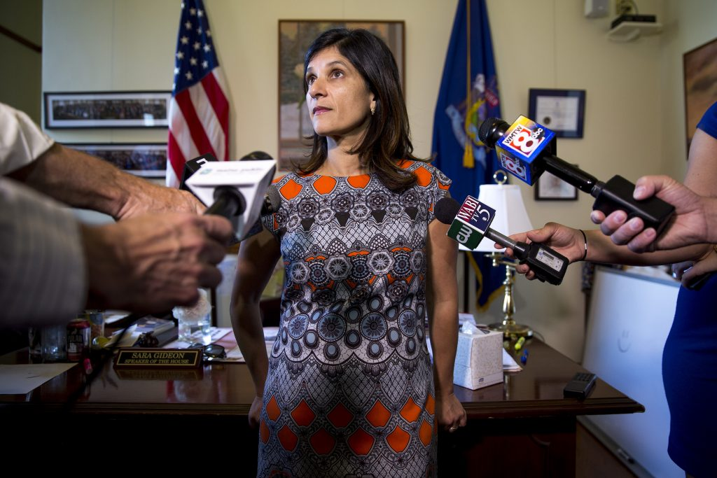 Sara Gideon speaks to the media in her office at the Maine State House, July 3, 2017. (Brianna Soukup/Portland Portland Press Herald via Getty Images)