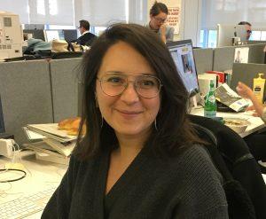Bari Weiss in the New York Times newsroom in 2018 (Josefin Dolsten)