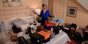 """Living in a virtual sea of shoes, Haley (Andréa Burns) tells all about her """"Bad Dates."""" (Screenshot)"""