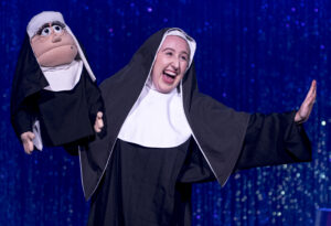 "Gates of Prayer cantorial soloist Jordan Lawrence as Sister Amnesia in ""Nunsense."" (Photo courtesy Rivertown Theaters for the Performing Arts.)"